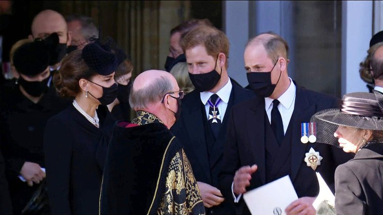 Kate Middleton, Prince Harry, Prince William thank the Dean of Windsor after the poignant funeral service for the Duke of Edinburgh
