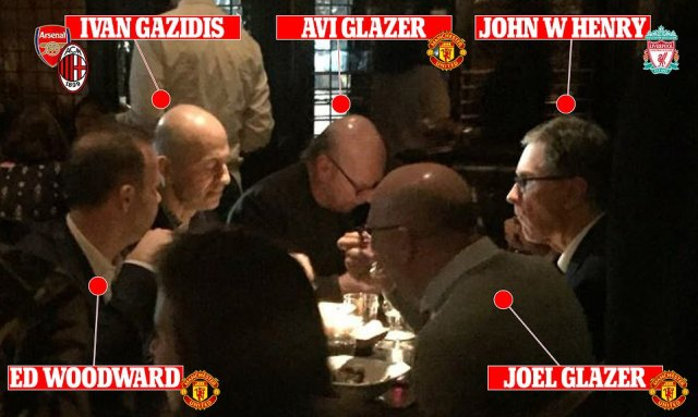 (L-R) Manchester United executive vice-chairman Ed Woodward, Arsenal chief executive Ivan Gazidis, Man United co-owners Avi Glazer and Joel Glazer and Liverpool principal owner John W Henry met up for dinner in New York in October 2017. Was this the day the Super League took a giant step towards being created?