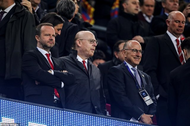 Ed Woodward (left), Manchester United's cheif executive, was also there are the meeting in New York back in 2017. Here, he and Avram Glazer are pictured watching United face Barcelona at the Nou Camp in 2019