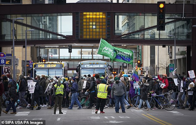 Protesters take to the street in Minneapolis as jurors begin deliberations following the trial of former Officer Derek Chauvin