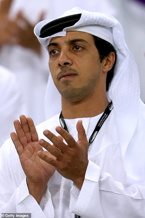 Moments after the reports surfaced, it emerged that mega-rich Manchester City (pictured: Owner Sheikh Mansour) could also pull out, dealing a huge double blow to the breakaway competition.