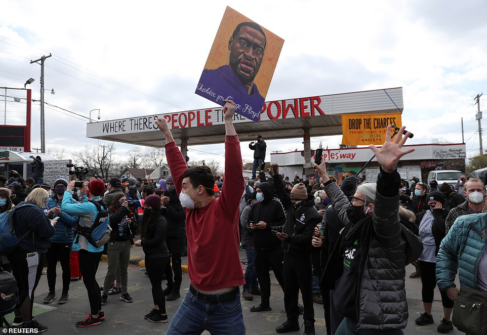 People cheer outside the Cup Foods where Floyd died after Chauvin was found guilty on Tuesday