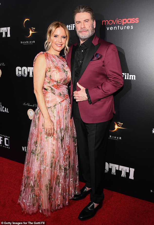 Respect: It also paid respect to Kelly Preston, who passed away in July 2020 aged 57 (pictured with husbandJohn Travolta in 2018)