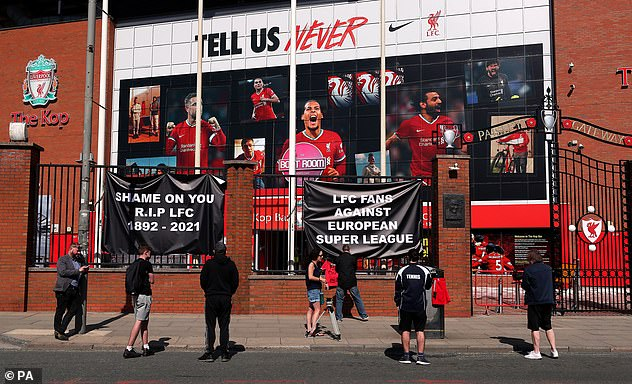 Liverpool fans protest outside Anfield on Monday amid the European Super League plans