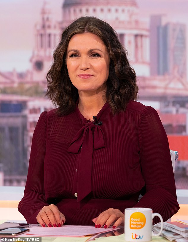 Former flames:Susanna Reid kept things strictly professional as she interviewed her former flame Steve Parish about the controversial Super League on Wednesday's Good Morning Britain