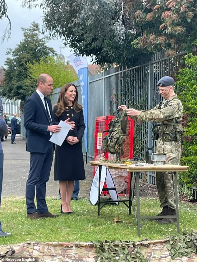 Good spirits: During the visit to 282 Squadron, The Duke and Duchess met cadets taking part in field craft exercises and leadership tasks, before speaking to a number of the young people who are preparing for their Duke of Edinburgh Awards