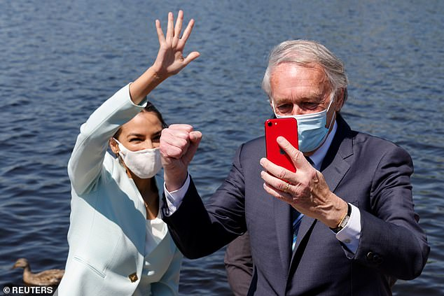 Ocasio-Cortez and Markey were seen filming a social media post together on Tuesday