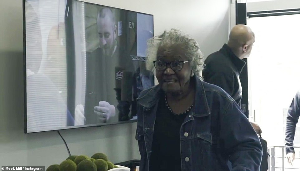 Mansion: The 33-year-old rapper (real name Robert Rihmeek Williams) took to Instagram on Monday, sharing a photo of him and his grandmother in the new mansion