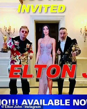 Switching it up:Elton, who was joined by his husband David Furnish in the video, then clicked his fingers and was suddenly dressed in an elaborate floral suit as he invited his followers along to the virtual viewing