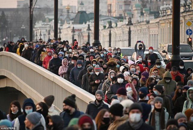 Demonstrations took place across Russia on Wednesday, the same day as Putin's annual state-of-the-nation address (pictured, protesters in Omsk)