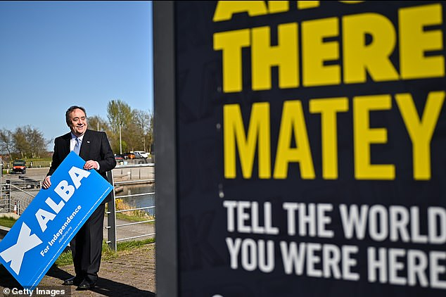 After riding high for months, a slew of recent polls have shown backing for dividing the UK has been slipping, as Ms Sturgeon's civil war with Alex Salmond (pictured last week) rages