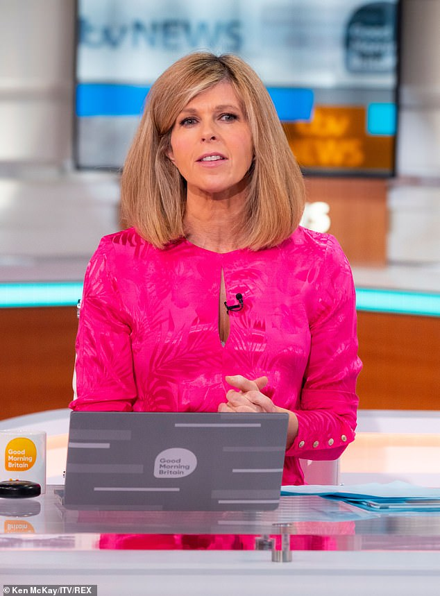 Sweet:Kate Garraway says there have been 'lots of little positives' since her husband Derek Draper returned home - and he recently recognised she was wearing a 'new dress'
