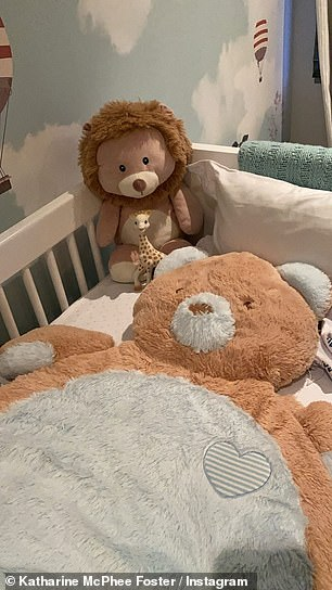 Nursery: Katharine called the chair 'my favorite corner' while also sharing a photo of a huge teddy bear she has for Rennie