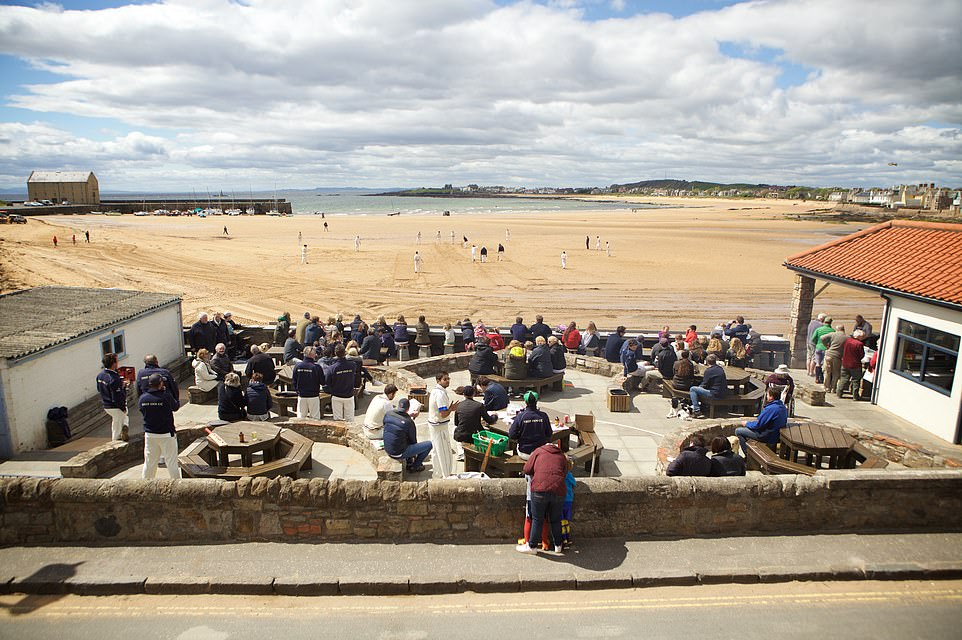 The Ship Inn has a beachside beer garden, pictured, that has stunning views over Elie Bay in Fife