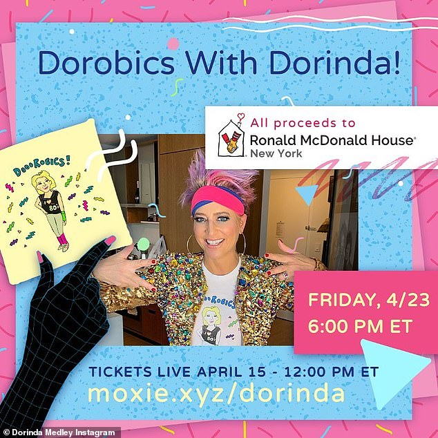 Let's dance!  Dorinda's next Dorobics class will be practically Friday, April 23 at 6 p.m. ET