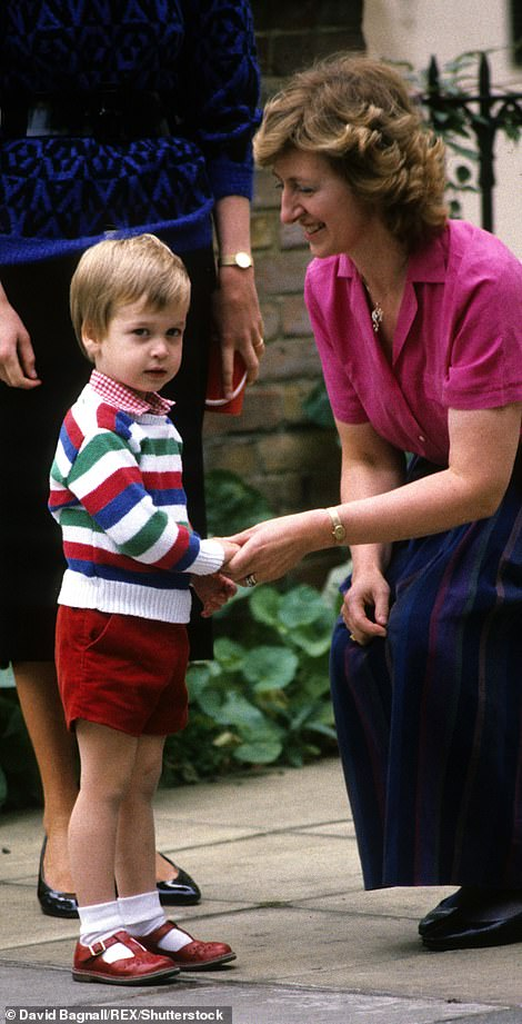 Prince William on his first day of preschool in 1985
