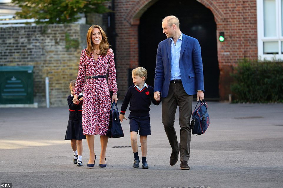 Pictured: Princess Charlotte and Prince George with The Duke and Duchess of Cambridge at Thomas's Battersea in London.