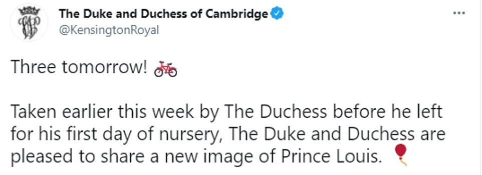 In an official tweet, the Duke and Duchess of Cambridge revealed the photo of Prince Louis was taken earlier this week