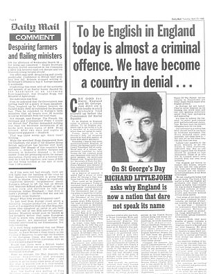 RICHARD LITTLEJOHN: My friend Mitch Murray, who was rummaging through some old papers the other day, stumbled across a yellowing cutting from the Daily Mail, dated Tuesday, April 23, 1996 (pictured)