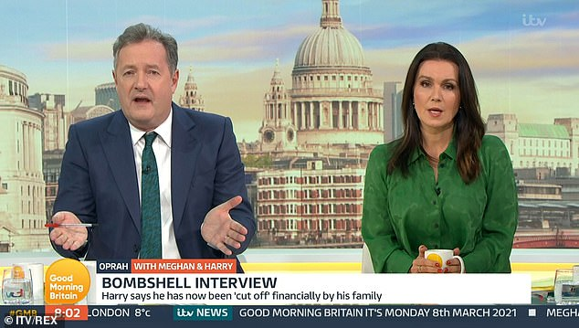 Departure:Last month, Piers announced he had quit GMB after Alex Beresford, 40, challenged his comments about the Duchess of Sussex, 37, and her interview with Oprah, 67