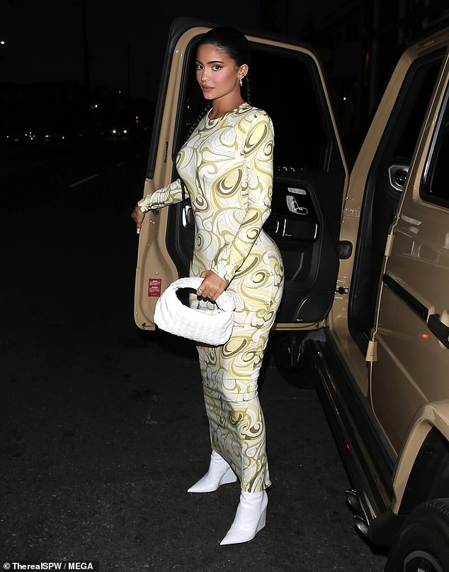 In town: Kylie Jenner showcased her enviable figure on Wednesday night as she dined at Nobu Restaurant in Malibu, Calif.