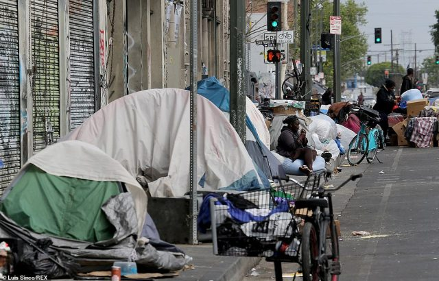 With Los Angeles's mostly temperate weather, a relative tent city has sprouted for years just outside its downtown area