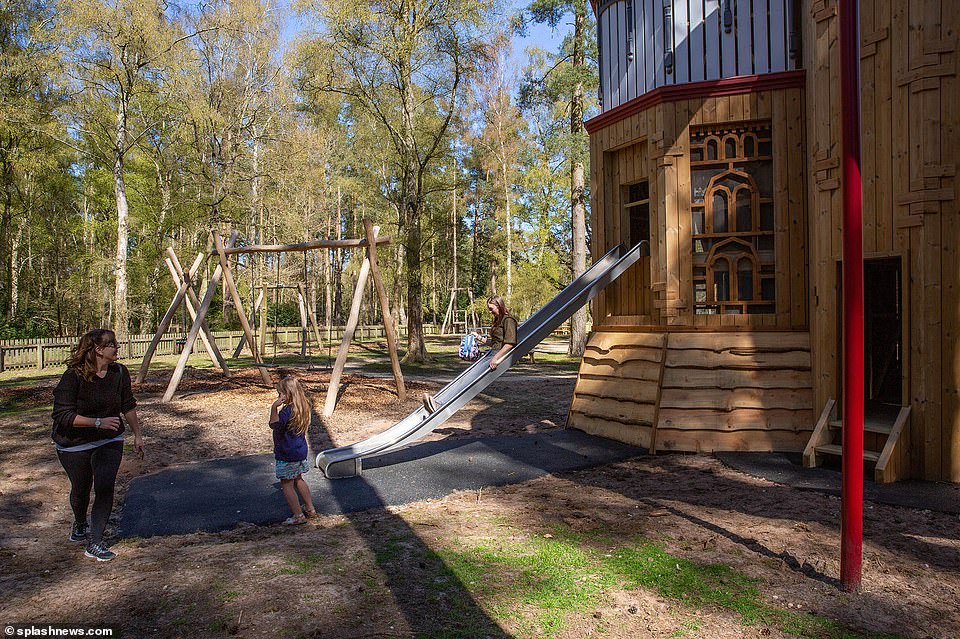 The Cambridges spend holidays at Anmer Hall, their house on the estate, and George, seven, Charlotte, five, and Louis, who turns three tomorrow, could become regular visitors to the revamped playground (pictured)