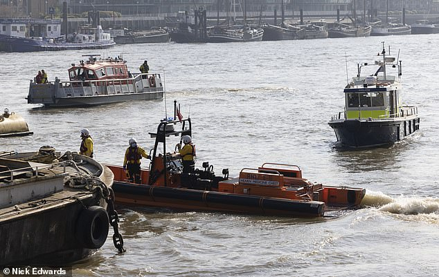Emergency services (pictured on the River Thames) including the river police, firefighters, the RNLI and a police helicopter were all involved in the search