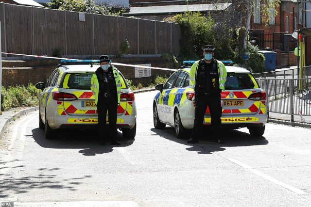 Police are again at the scene in Walton-on-Thames this morning as investigations into the suspected murder continue