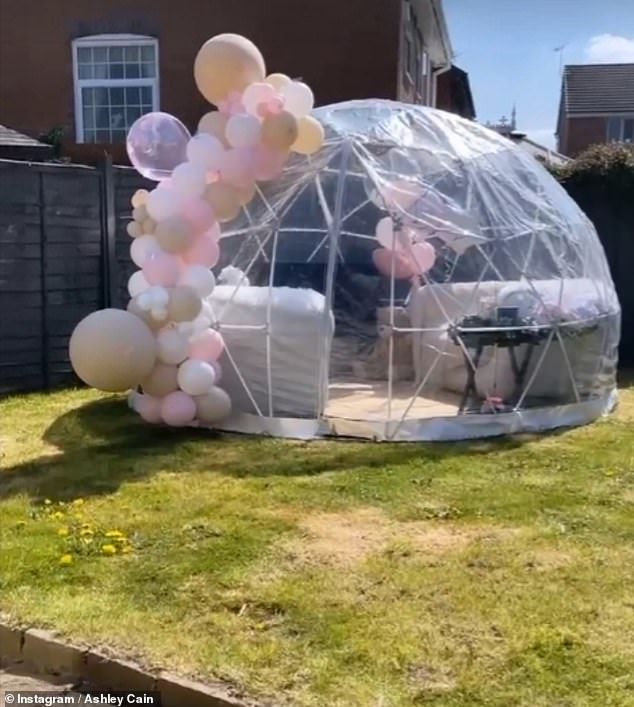 Great idea: Ashley and his partner Safiyya have set up a pod in their garden so that they can stargaze with Azaylia