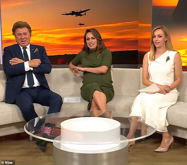 Emotional: Richard Wilkins, 66, (left) broke down in tears on Weekend Today as he paid tribute to his father and grandfather who both served on Anzac Day. Pictured with Jayne Azzopardi (centre) andSophie Walsh (right)