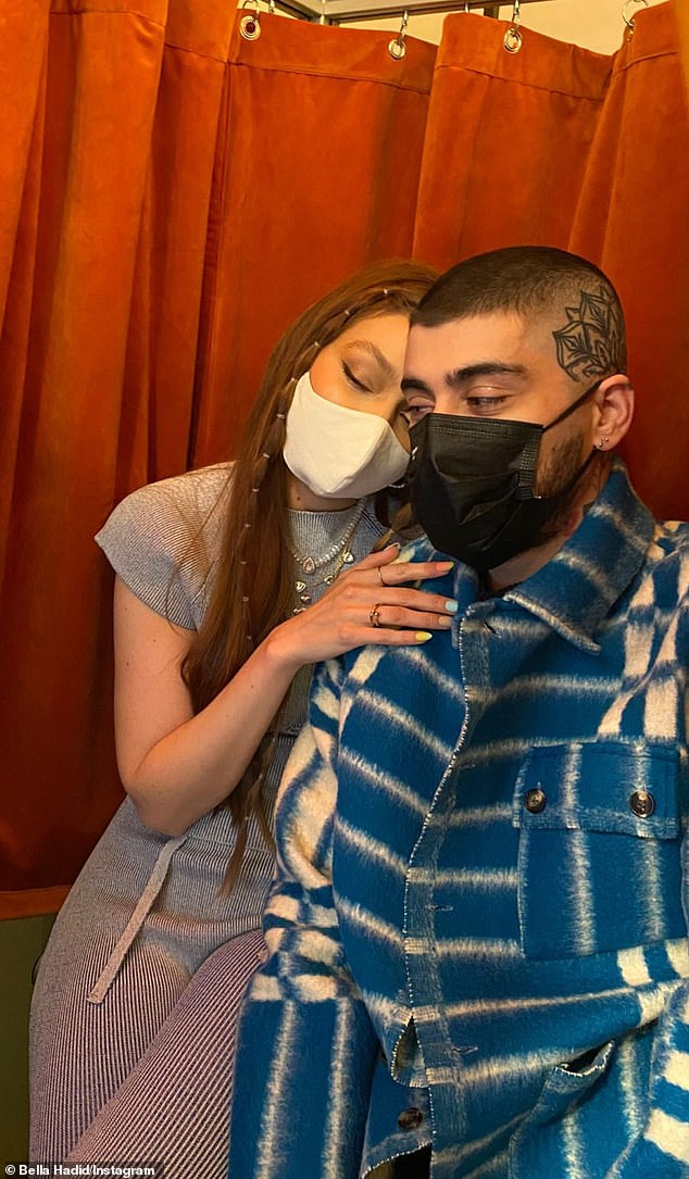 Sweet moment:Bella also added a beautiful candid shot of Gigi and partner Zayn Malik
