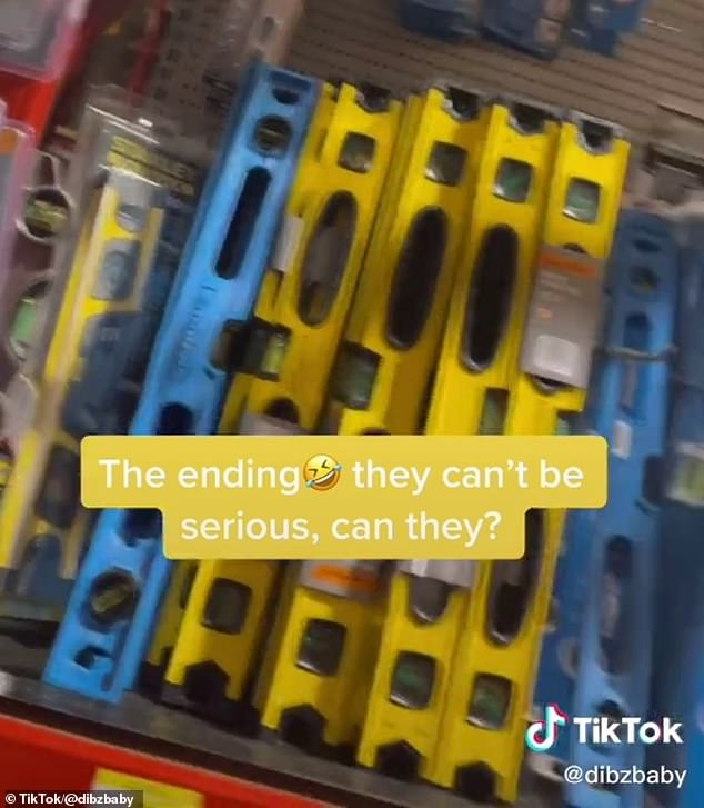 The man was directed to the tool shop section where the spirit levels are located