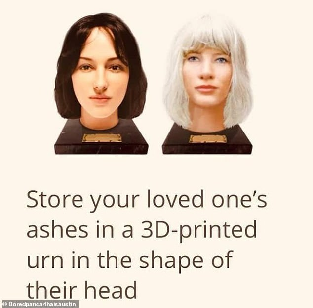 One shopper, from Washington DC, was left shocked after finding an urn for storing ashes that was 3D-printed to look like the deceased's head, boasting many realistic facial features