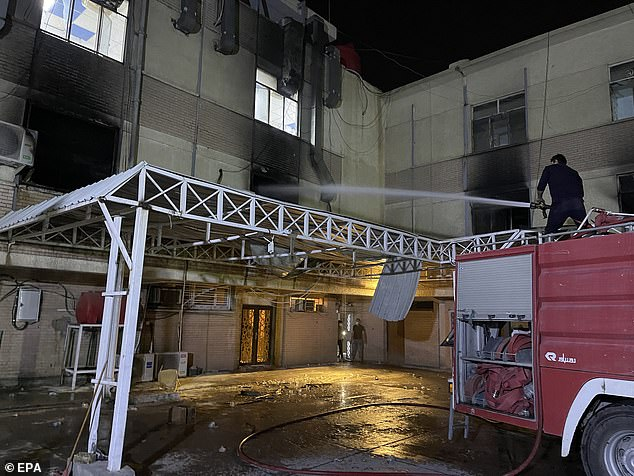 Videos on social media showed firefighters trying to extinguish flames at the hospital on the southeastern outskirts of the Iraqi capital, as patients and their relatives tried to flee the building