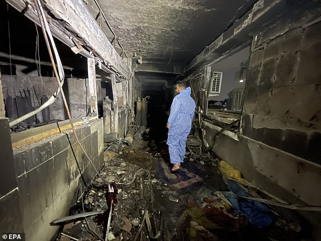 The fire spread quickly, according to the civil defence, as 'the hospital had no fire protection system and false ceilings allowed the flames to spread to highly flammable products'