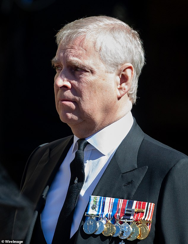 Producers of The Crown are struggling to find an actor to play Prince Andrew in the upcoming fifth series of the Netflix show. Pictured: Andrew earlier this month at the Duke of Edinburgh's funeral at Windsor Castle