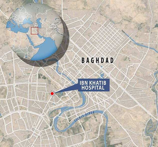The fire at the Ibn al-Khatib hospital in the Diyala Bridge area of the Iraqi capital started on Saturday night after a 'fault' caused oxygen tanks to explode