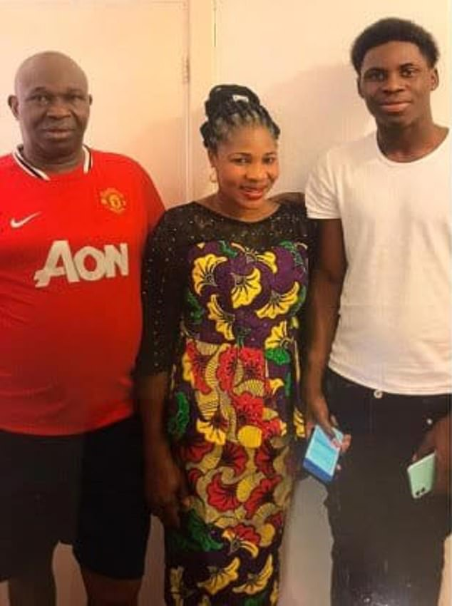 Jimi's father Michael Adewola (left), 63, and his mother Olasunkanmi Adewole, 54, (centre) said they are proud of their son (right) for trying to save another person's life - but they are devastated by his death
