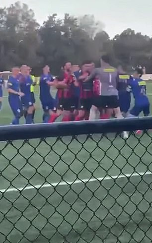 The football players from Rockdale Ilinden and Sydney United 58 are shown throwing punches on the field
