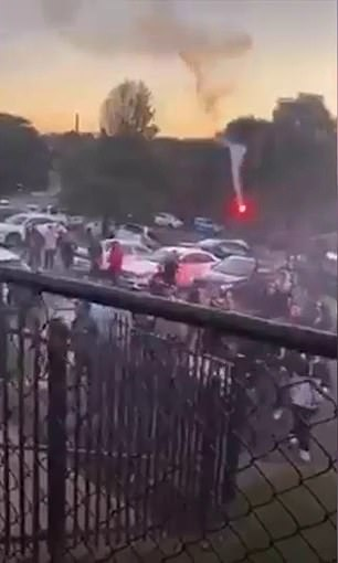 The NSW Police Riot Squad were called to a field on West Botany Street in Rockdale, Sydney's south just after 5pm on Sunday after a brawl saw three people injured