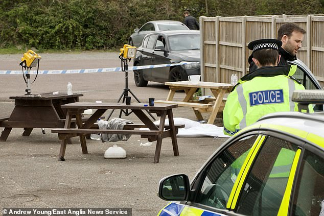 King's Head landlady Sarah Bond said in a statement on the pub's Facebook page: 'We're closed today following an incident last night. Pictured: Police at the scene