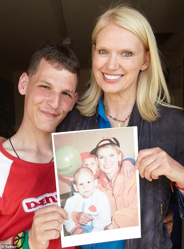 Anneka Rice shared a picture of her and Viorel (pictured) , an orphan who was photographed looking 'utterly vacant' and 'rake thin' during filming of the show (holding the 1990 picture). But now, Viorel is 35 years old, married to fellow-orphan Mariana and is living in a purpose-built halfway house