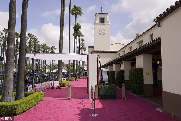 NEW: A view of the red carpet before the start of the Oscars at Union Station in Los Angeles, California on Sunday
