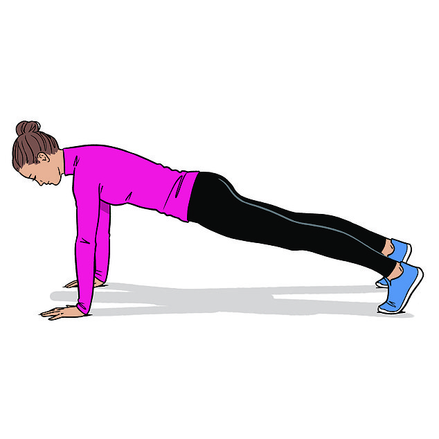 Celebrity personal trainer Nadya Fairweather suggests side walking planks to tackle bingo wings, starting in a high plank position with your feed together and hands touching each other, stepping out with your right hand and right foot at the same time