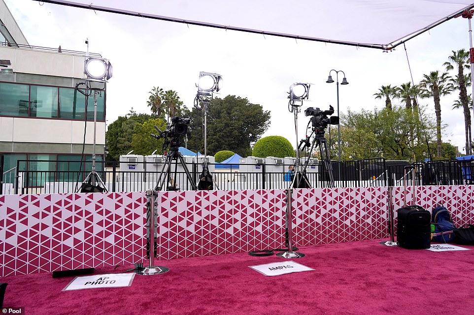 Another angle: The normally buzzing awards show - and the last one before the end of awards season - appeared deserted just before the show began