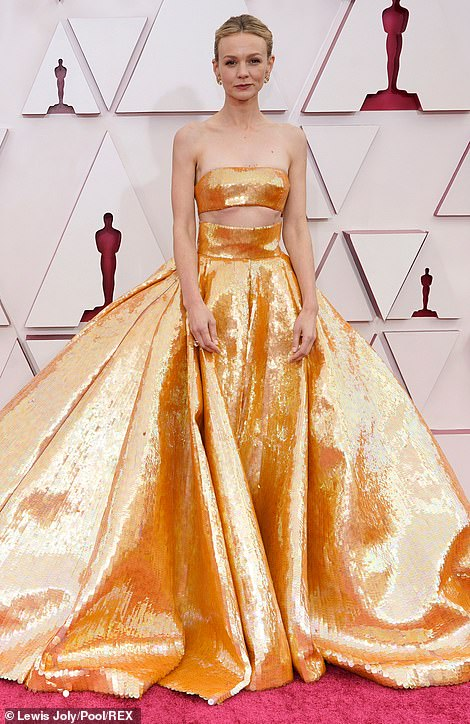 Glamorous arrivals: Vanessa Kirby and Carey Mulligan led the British arrivals at the 93rd annual Academy Awards as they put on a glamorous display on the red carpet in Los Angeles on Sunday evening