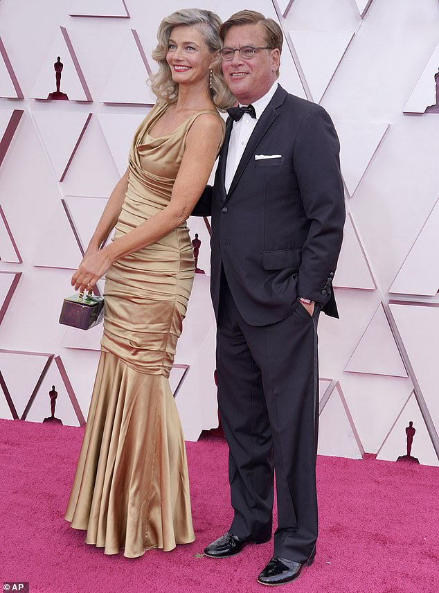 Going public: Paulina Porizkova made her red carpet debut with new beau Aaron Sorkin at the Academy Awards in Los Angeles on Sunday evening