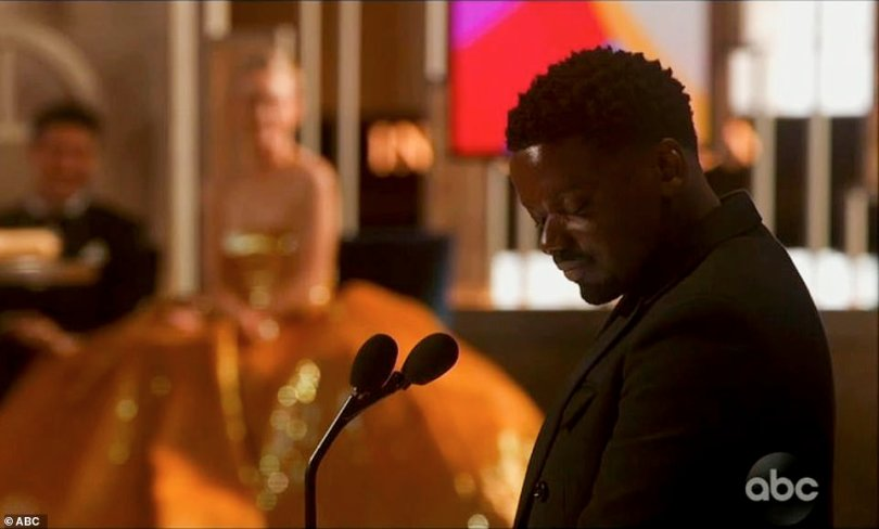 Praise:Kaluuya could not wait to start celebrating as he said: 'And I'm going to get back to work Tuesday morning. Because tonight I'm going up. We're going up, you know what I mean? We're enjoying ourselves tonight. You got to celebrate life, man. We're breathing, walking, it's incredible'
