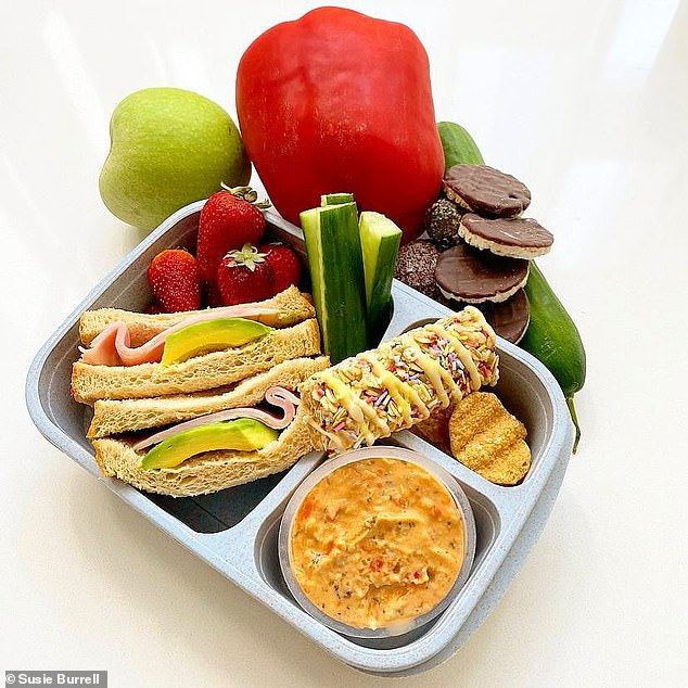 The main mistake that parents make with their kids' lunchboxes according to the dietitian is overloading them with too many carbs; you need to avoid this (ideal lunchbox pictured)